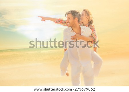 sunset watching finger stretched couple - stock photo