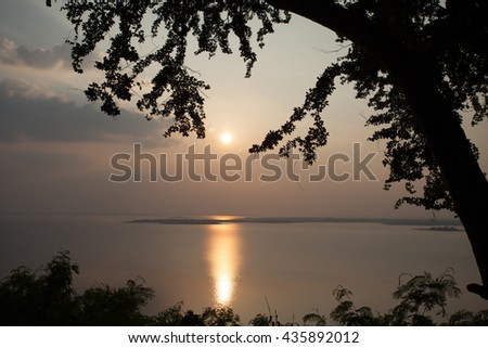 Sunset, water, trees, Silhouette