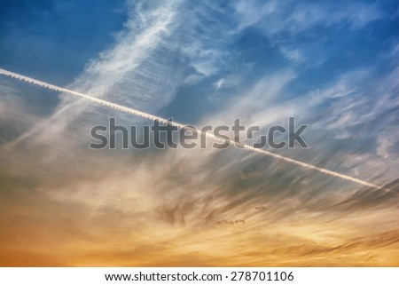 Sunset with clouds and sky - stock photo