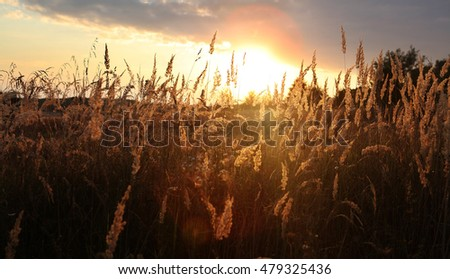 sunset with clouds over field at autumn