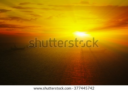 Sunset with fishing boats at sea Thailand 3d rendering. - stock photo