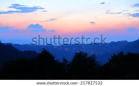 sunset with mountain