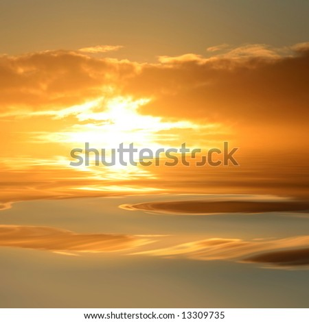 sunset with water reflexion - stock photo