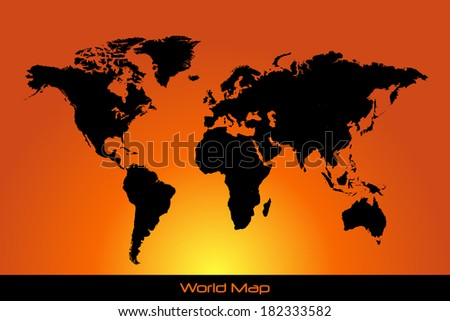 Sunset world map. eps available in portfolio - stock photo