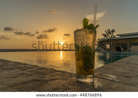 sunset yoga and drinks by the pool on the Caribbean island of Curacao