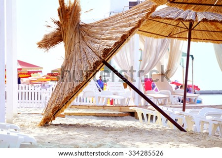Sunshade umbrella on the beach
