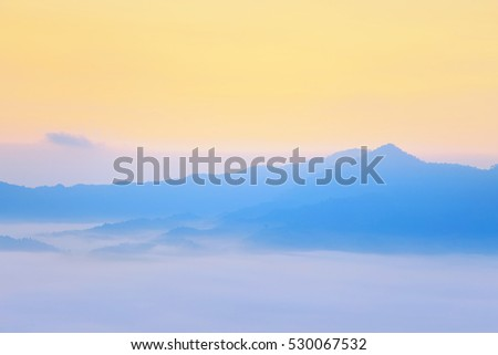 Sunshine and clouds on the morning mist At Phu Lang Ka, the famous viewpoint of Phayao, Thailand