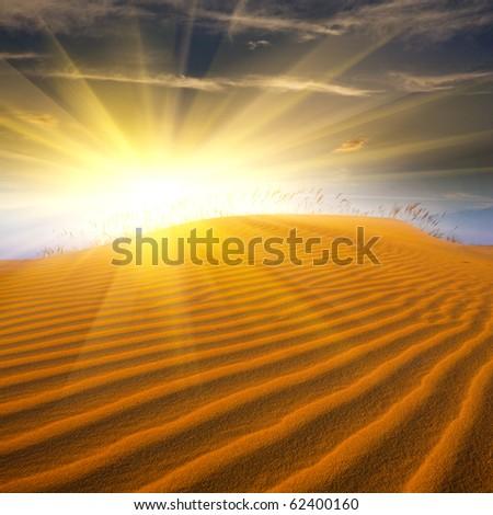 sunshine and sand in desert - stock photo