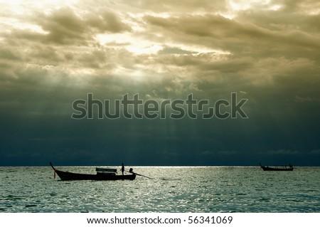 Sunshine curtain at Lipe, Thailand - stock photo