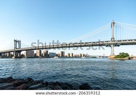 Sunshine one Brooklyn Bridge - stock photo