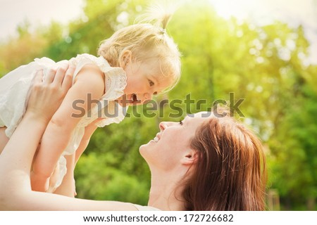 sunshine spring summer day playing child - stock photo