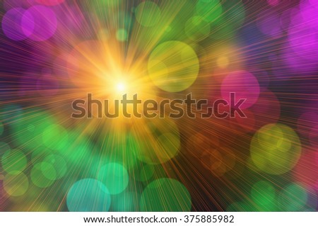 sunshine sun with blur bubbles background - stock photo