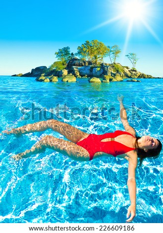 Sunshine Swimmer Liquid Happiness  - stock photo