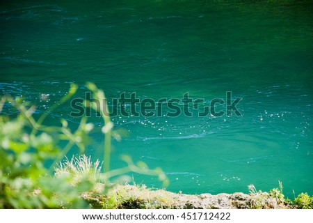 Sunspots on  water stream in woods.  Fontaine de Vaucluse (Provence, France). Selective focus on the water. Eco planet concept. - stock photo