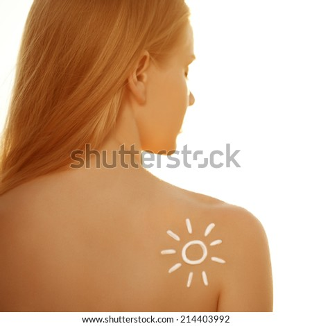 Suntan lotion cream. Woman care skin. Girl applying sunscreen solar cream. Sexy lady applying Sun Tan Cream. Tan, vacation, beach. Protection skin. - stock photo