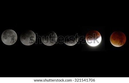 Super blood moon from full moon to blood moon