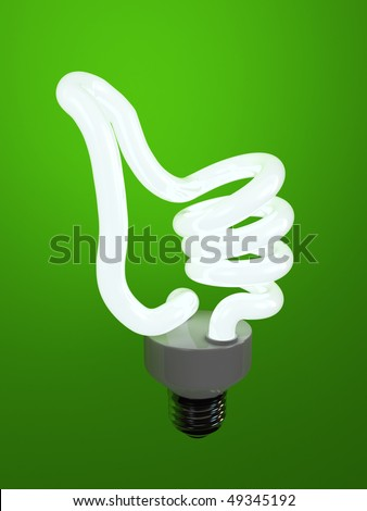 super bulb concept energy saving fluorescent isolated on green background - stock photo