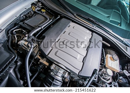 Super Car Engine. Under the Hood. Powerful 8 Cylinders V8 Gas Engine. - stock photo