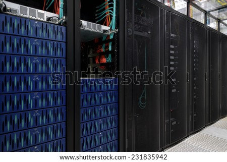 Super Computer, Server Room, Datacenter, Data Security Center. - stock photo