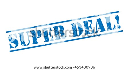 super deal! blue stamp on white background - stock photo