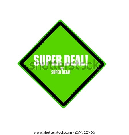 Super deal white stamp text on green background - stock photo