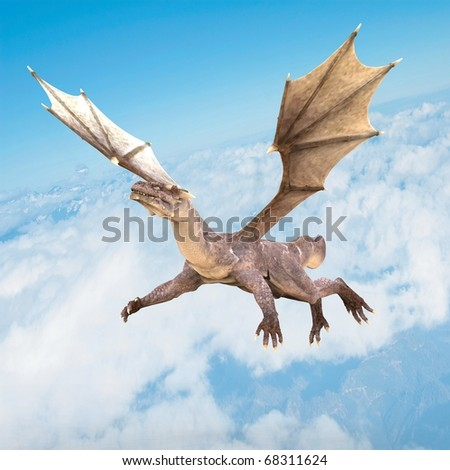 super dragon flying on the blue sky - stock photo