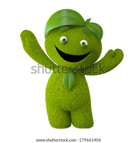 super eco mascot, nature character, lush green beautiful 3d little person from grass and leaves isolated on white background - stock photo