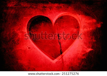 Super-grunge red heart background - stock photo