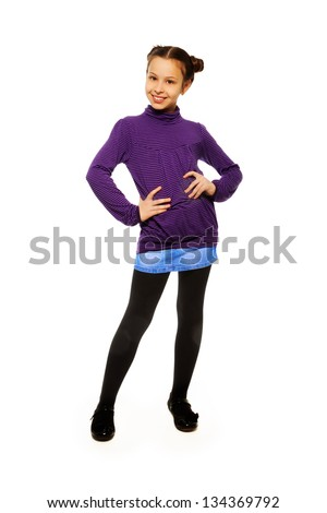 Super happy and cute smiling brunet 10 years old girl, full length portrait - stock photo