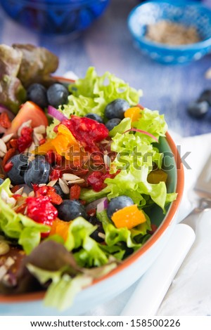 Super healthy salad with goji berries, apricots and blueberries - stock photo