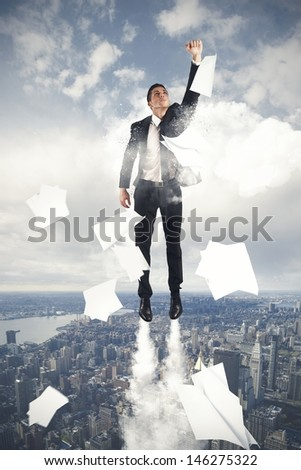 Super hero businessman flying in the sky - stock photo