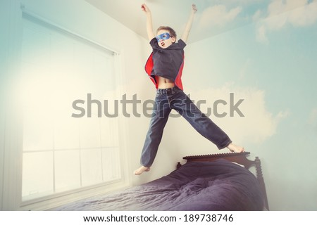 Super hero flying, some motion blur - stock photo