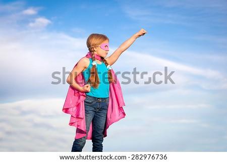 super hero or superhero  girl power concept - stock photo