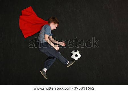 Super hero soccer player