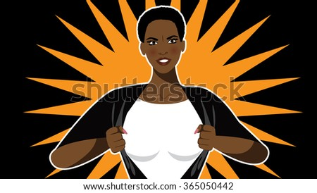 Super hero woman tears open her shirt to reveal the super insignia or message in copy space. - stock photo