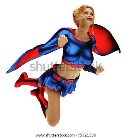 super heroin flying out - stock photo
