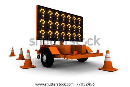 Super high resolution 3D render of road work sign ... ? - stock photo