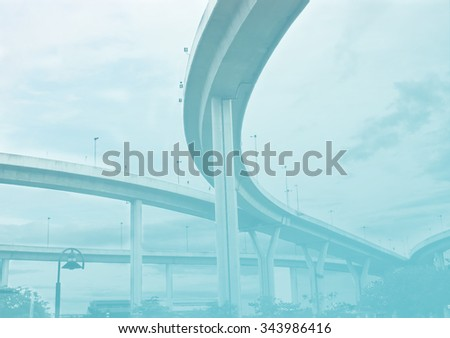 super highway bridge in soft tone - stock photo