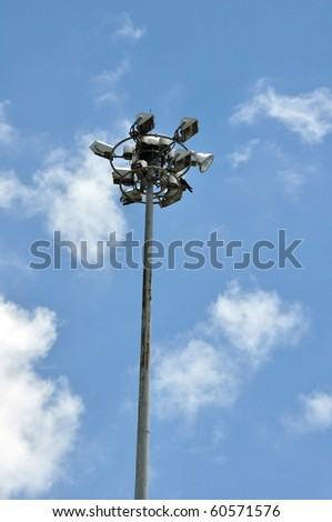 Super highway lighting column with little cloud sky. - stock photo