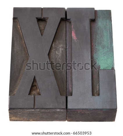 super large, XL letters in vintage wooden letterpress printing blocks isolated on white