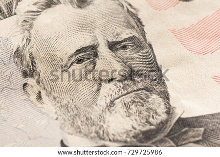 Super macro. Portrait of President Grant on a fifty dollar bill.