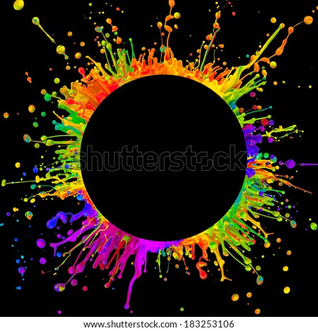 """Super macro shot of colored paint splashes """"dancing"""" on sound waves. In rounded shape with free space for text. Isolated on black background - stock photo"""