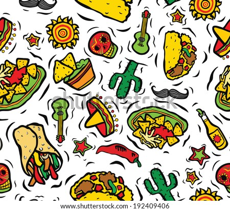 Super Mexican Food and Objects Seamless Background - stock photo