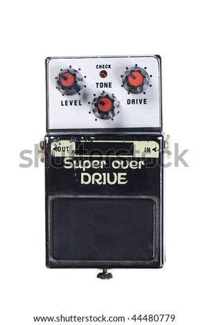 super over drive guitar effect isolated on white background - stock photo