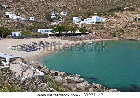 Super Paradise beach at Mykonos island in Greece - stock photo