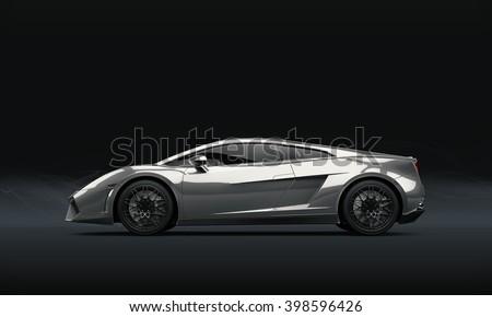 Super sport car on dark background, 3D illustration - stock photo