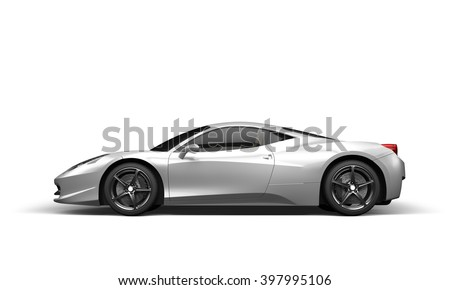 Super Sport Car On White Background, 3D Illustration