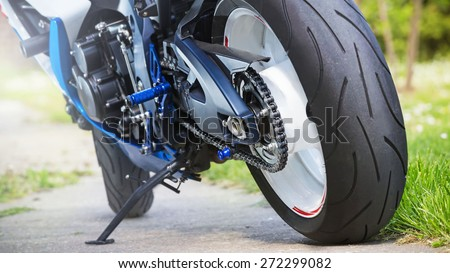 Super sport motorcycle engine from the back. No trademarks - stock photo