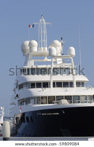 Super yacht moored in the harbor at Cannes. Cote d'Azur. France - stock photo