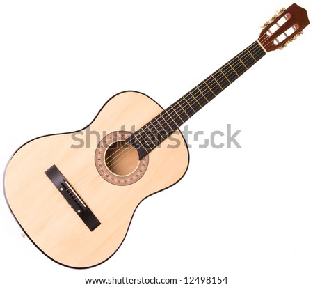 Superb picture of a guitar on a white background - stock photo
